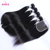 Wholesale Unprocessed Brazilian Hair 5pcs - 5Pcs Lot Grade 8A Unprocessed Brazilian Virgin Hair Straight With Closure 4 Bundles Hair And 4*4 Lace Closure Human Hair Weaves With Closure