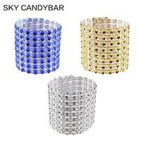 Wholesale Diamond Napkin Holders - 1611 100 Rhinestone Napkin Rings 8 Row - silver diamond wedding party sash holder