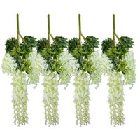 Wholesale Wholesale Silk Flowers Products - 12pcs  Lot 105cm Artificial Flower Hanging Plant Silk Wisteria Fake Garden Hanging Plants Wedding Decoration Home Garden Products