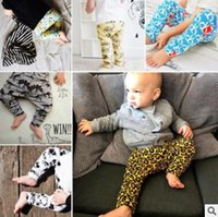 Wholesale Toddler Girl Leopard Leggings - Baby INS Pants Leopard Fox Dinosaur PP Pants Toddlers Geometric Figure Animal Trousers New Boys Causal Pants Girls Fashion Leggings J448