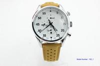 ingrosso orologi a quadranti gialli automatici-Good men Space X orologio meccanico automatico bianco tricolore quadrante in acciaio inossidabile cinturino in pelle gialla