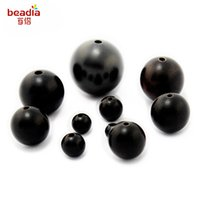Wholesale Wood Beads 15mm - New Wooden Beads 4mm 10mm 15mm Round Shape Natural Black Sandalwood Ebony Wood Loose Spacer Beads for Bracelet