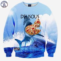 женские толстовки оптовых-Hip Hop New hoodies men / women's tops clothes funny print the the sea shark eating delisous Pizza 3d printing sweatshirts