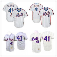 Wholesale Stripes Toms - 1969 Throwback New York Mets 41 Tom Seaver Baseball Jerseys Cream Hemp Gray White Stripe Shirts Good Quanlity Free Drop Shipping