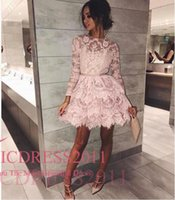 Wholesale Tuxedo Backless Dress - Garden Vintage Adoration Homecoming Dresses A Line Jewel Hollow Long Sleeve Mini Lace Sashes Pink Ladies formal tuxedo
