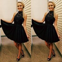 Wholesale Gold Scatters - 2017 Chic and Modern Halter A Line Short Prom Dresses Scattered Beaded Lace Little Black Dress Formal
