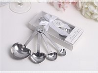 Wholesale Wholesale Heart Shaped Measuring Spoons - Love Wedding favors of Simply Elegant Heart Shaped Stainless Steel measuring spoon in White Gift Box Free shipping wa4111