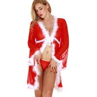 8cea516427 Novo Plus Size Mulheres Vermelhas Lingerie Babydoll Natal Sexy Underwear  Manga Longa Roupão Camisola Uniformes Produtos Para Adultos