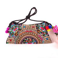 Wholesale Embroidered National Trend Bag - Wholesale-Embroidery bag!Hot National Trend New Embroidered Floral Bags one-Shoulder Messenger Vintage Handbag Gifts New Arrival