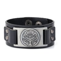 Wholesale Invisible Life - Hot Sale Wristband Cuff Leather Bracelet Men Vintage Punk Slavic Tree of Life Seal Charm Adjustable Cuff Studded Hidden Snaps Jewelry