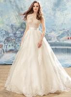 Wholesale Embellished Blouse - romantic princess a line blouse wedding dresses 2017 papilio bridal three quarter sleeves sheer jewel sweetheart heavily embellished bodice