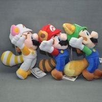 "Wholesale Luigi Fire Toys - EMS New 3 Styles 8"" 20CM Super Mario Bros Doll Kitsune Fox Luigi Raccoon Tanooki Mario Racoon Fire Mario Dolls Plush Stuffed Soft Toys"