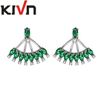 Wholesale KIVN Fashion Jewelry Blue CZ Cubic Zirconia Bridal Wedding Earring Ear Jackets For Womens Girls Mothers Christmas Birthday Gifts