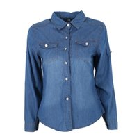 Wholesale Women Denim Slim Jean Shirt - COCKCON Women Lapel Button Blue Down Denim Jean Shirt Pocket Slim Top Coat Hot