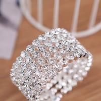 Wholesale Wide Gold Bracelets For Women - High Quality 5 Row Wide Bridal Wedding Cuff Bangle Bracelet Big Crystal Rhinestone Stretch Wristband New Fashion Jewelry Accessory for Women