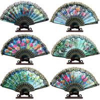 Wholesale Lace Ladies Fan Wholesale - Black Lace Wedding Fans Ladies Hand Fans Retro Bun Deco Fans Handmade Wedding Tourism Guest Gift