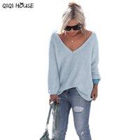 Wholesale En V - Wholesale- Women Pullover Loose Sexy V-Neck Solid Long Sleeve Sweater Knitwear Warm Jumper Autumn Truien En Vesten Dames#C902