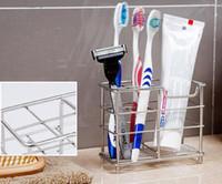 acessórios de banho em aço inoxidável venda por atacado-Hot Aço Inoxidável Bath Toothpaster Toothpaster Titular Toothbrush Organizer caixa de acessórios do banheiro Titular do Pente