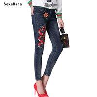 ingrosso matita di ricamo delle donne-All'ingrosso- Jeans donna denim a matita con ricamo a forma di serpente, jeans a vita alta a vita bassa, per donna