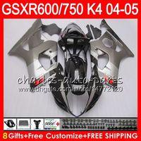 Wholesale K4 Fairings - 8 Gifts 23 Colors Body For SUZUKI GSX-R600 GSXR750 GSXR600 04 05 gloss black 9HM4 GSX R600 R750 K4 GSX-R750 GSXR 600 750 2004 2005 Fairing