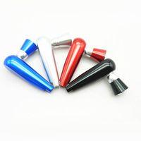 aluminium-metall-kunst großhandel-95mm Länge Pfeifen Pfeife Form Pfeife Tabakpfeifen Metallrohr Aluminium Rauchen Zubehör Kostenloser Versand