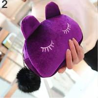 фланелевые мешки для хранения оптовых-Милый портативный мультфильм кошка монета кейс для хранения путешествия макияж фланель сумка косметическая сумка корейский и японский стиль бесплатная доставка