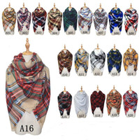 Wholesale Triangle Scarves For Women - 2017 New Brand Fashion Winter Scarf For Women Triangle Warm Scarf Women Plaid Cashmere Scarves Warm Brand Shawls Drop Shipping