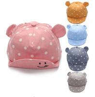 new girl accessories toptan satış-Nokta Bebek Kapaklar Için Yeni Kız Erkek Kap Yaz Şapkalar çocuk Bebek Güneş Şapka Ile Kulak 2017 Güneş Koruyucu Bebek Kız Şapka Bahar Bebek Aksesuarları G595