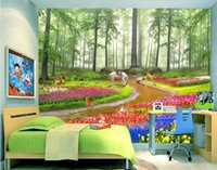 Wholesale d pictures resale online - 3d wallpaper custom photo Non woven mural HD dream forest flowers background decor painting picture d wall muals wall paper for walls d