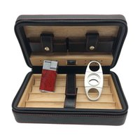 Wholesale cedar cigar case - COHIBA Black Leather Cedar Lined Cigar Case Cigarette Humidor with Cutter & Lighter with 1 Cutter 1 Lighter(Random color)