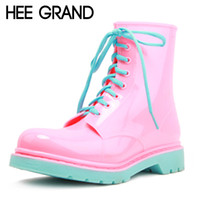 Wholesale pink rain boots women - Wholesale-HEE GRAND 2016 Rain Boots Candy Colors Platform Women Ankle Boots Lace-Up Casual Shoes Woman Pink Women Flats Shoes XWX4145
