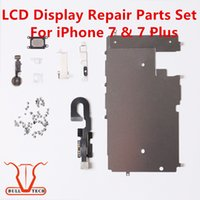 "Wholesale Button Kits - For iphone 7 7 Plus LCD Repair Parts Metal Plate Kit Front Camera Screws Earpiece Home Button Parts Set 4.7"" 5.5"""