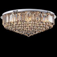ingrosso cristalli di lampade a soffitto-Lampada da soffitto a Led in cristallo Lampada da soffitto E14 rotonda K9 Lampada a sospensione a soffitto in cristallo argento cromato lucido per soggiorno