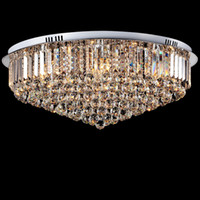 lampes rondes achat en gros de-Plafonnier Cristal Led Rond E14 Lustre Fitting Lamp K9 Cristal Argent Chrome Pendentif Plafond Lumière pour Salon