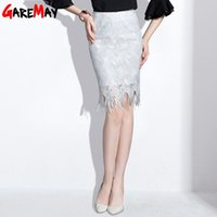 Wholesale Hip High Slit - White Skirt For Women Lace Shirts Female Package Midi Tassle Slit Hip High Waist Skirt Office Faldas Elegantes Mujer GAREMAY