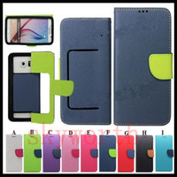 lg cuir cas de téléphone portable achat en gros de-Universal Wallet PU Housse en cuir Flip Couverture de carte de crédit pour téléphone portable de 3,5 à 5,7 pouces Téléphone portable