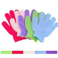 Wholesale Glove Scrubber - 1pcs Mitt Shower Bath Exfoliating Bath Shower Glove For Peeling Exfoliating Mitt Glove Five Fingers Scrubber Spong Bath Gloves 3006030