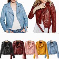 mode leder motorrad jacken großhandel-Mode Frauen Casual Soft PU Leder Reißverschluss Mantel Biker Motorrad Slim Jacke Tops