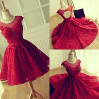 Wholesale Modest Short Sleeve Homecoming Dresses - 2017 Modest Red Lace Cocktail Dresses Jewel Sheer Neckline Cap Sleeves Short Party Dresses Evening Wear Back Open Hollow Homecoming Dress