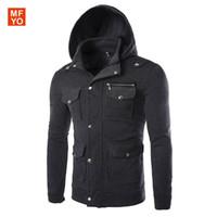 Wholesale Korean Casual Frocks - 2016 Men's Sportwear Hoodie hooded cotton pure Korean Multi Pocket slim frock Coat long sleeved pants male boom