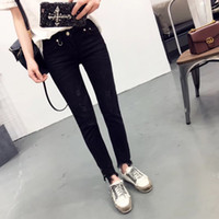 Wholesale full length rings - Wholesale- 2017 Spring Fashion Women Jeans Ripped Metal Ring Decoration Vintage Denim Pencil Pants Casual Low waist Full Length Trousers