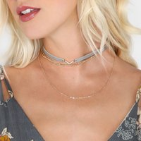 Wholesale Gothic Leather Jewelry - 5 Colors Women Gothic Colorful Leather Choker Necklace Maxi Statement Tassel Multilayer Chain Collar Necklace Jewelry 2018