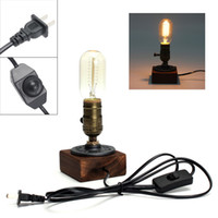Wholesale Wood Table Desk - Retro Style Vintage Industrial Single Socket Table Bedside Desk Lamp Wooden Base Creative Edison Light Bulb Home Shop Decoration LEG_40E