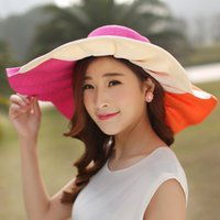 Wholesale Ruffled Brim - Women Floppy Ruffle Stitch Paper Sunhat With Bowknot Fashion Wide Large Brim Hats Summer Beach Color Block Caps UV Protection