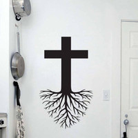 Wholesale Abstract Jesus - Cross With Roots Wall Stickers Home Decoration Accessories Vinyl Wall Decals Religion Jesus Christ Stickers Decor