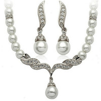 Wholesale Cheap Gifts For Bridal Party - Cheap jewelry For Women Silver Gold Tone Pearl Rhinestone Crystal Diamante Wedding Bridal necklace and earrings Bridesmaid jewelry set SF