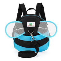 Vente en gros- Cartoon Kids Anti-lost Backpack Walking Safety Harness Sacs à dos pour bébés Super Light Toddler Bee Bag With Wings
