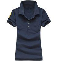 Wholesale Women Solid Black Polo Shirt - Classic Summer Woman Flag Polo Solid Woman Short Sleeve Casual T Shirt Big Horse Femal Slim Polos T-Shirt