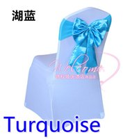 Wholesale Turquoise Spandex Chairs Sashes - Turquoise colour chair sash Butterfly style satin sash with lycra sash fit all chairs spandex wedding chair bow tie wholesale