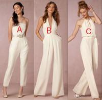 Wholesale Blue V Neck Jumpsuit - 2018 Elegant jumpsuit bridesmaid dresses for wedding halter plunging v-neck backless wedding guest dresses party dresses formal gown